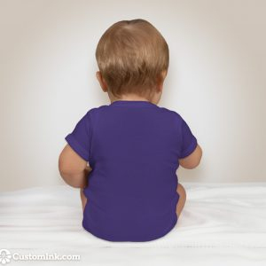 back of baby wearing purple onesie