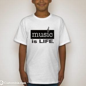 boy wearing white music is life t-shirt