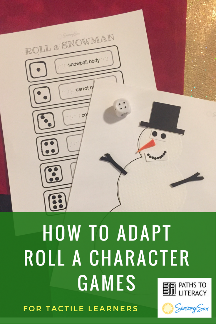 Roll a Snowman Game Materials with Tactile Dice