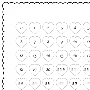 heart braille number cards preview