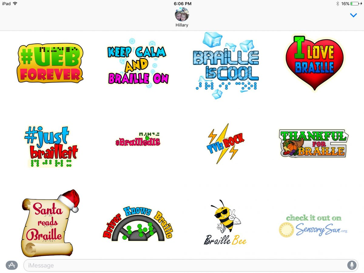 screenshot showing the complete Braille Stickers pack